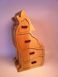4 drawer howling wolf bandsaw box by Staggwood on Etsy