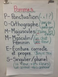An acrostic for French revision. Primary French Immersion Resources: POMMES for editing our writing Spanish Teaching Resources, French Resources, Teacher Resources, Primary Resources, Primary Education, French Grammar, French Verbs, French Education, Core French