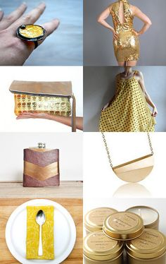 Sparkling by Deb Babcock on @Etsy #etsy #gold #summerfinds #yellow #vintage #ecohome #clothnapkin