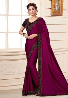 Buy latest saree designs, designer indian outfits like fashion saree. Order this sumptuous purple designer traditional saree for ceremonial and festival. Purple Saree, Purple Blouse, Crepe Saree, Tussar Silk Saree, Embroidered Clothes, Embroidered Silk, Off White Designer, Velvet Saree, Net Blouses