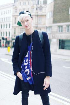 Benjamin Jarvis  Photographed by Kuba Dabrowski  London Men's Fashion Week Street Style  source: WWD