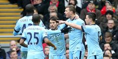 MATCH SHOT: Edin Dzeko is mobbed by his teammates after his 25th-minute equaliser. #mcfc