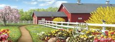 Bits and Pieces - 500 Piece Jigsaw Puzzle for Adults - Awaken III - 500 pc Sun Rising Over The Farm Jigsaw by Artist Alan Giana Photo Vintage, Vintage Farm, Colorful Paintings, Beautiful Paintings, 300 Piece Puzzles, Farm Paintings, Arte Country, One Stroke Painting, Cottage Art