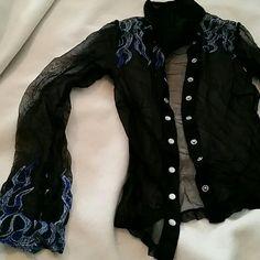 LIP SERVICE mesh shirt - black/blue *VINTAGE*