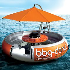 All aboard this the BBQ Donut Boat, it's time to fire up the grill, raise the sun shade and cast off for a fabulous floating feast.