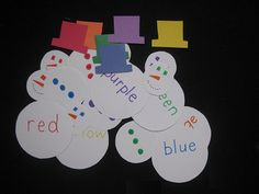 match the hat color, eye color, button color and the color word.
