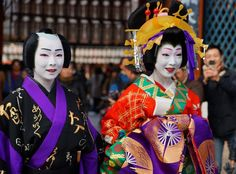 Geiko Toshimana and her friend geiko Toshikana dressed as an oiran and her client