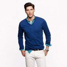 J Crew – Cotton Cashmere V-Neck Sweater 	 *** Why Tall Guys Love It ***  The comfortable sweater will be long enough to cover up whatever shirt you have underneath. It comes in an assortment of colors in Tall sizes.