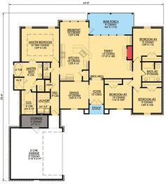 4 Bedroom French Country Home Plan - 56319SM floor plan - Main Level