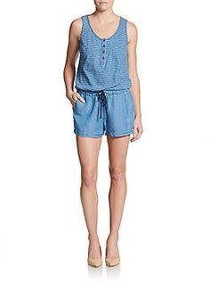 Indigo Dye Short Jumpsuit #bloggerstyle