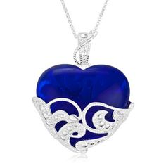 $19.99 - Sapphire Colored Glass Heart Pendant in Sterling Silver