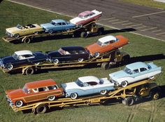 Ford & Mercury 1955, Car Haulers.www.TravisBarlow.com - Towing, Trucking & Auto Transport Insurance for over 30 years Vintage Trucks, Old Trucks, Vintage Auto, Semi Trucks, Ford Classic Cars, Classic Trucks, Mercury Cars, Mercury Auto, Edsel Ford