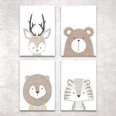 Bild Set Tiere Kunstdruck A4 Hirsch Bär Tiger Löwe Kinderzimmer Deko Geschenk in Möbel & Wohnen, Dekoration, Bilder & Drucke | eBay