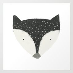 fox in black Art Print by Sweet Reverie | Society6