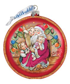 Handpainted Scenic Glass Ornament Santa's List Circle