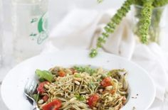 Pasta with Basil Pesto, Pine Nuts and Cherry Tomatoes Recipes