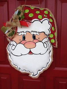 Santa Claus Door Hanger Christmas Decoration by TiffinyHDesigns, $37.00