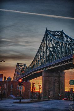 This is the Jacques Cartier Bridge in Montreal.  Jacques Cartier was arguably the most important explorer in French colonization of North America.  He discovered the St. Lawrence River that flows southward through Canada, connecting the Atlantic Ocean to Lake Ontario.