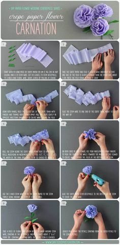 DIY Crepe Paper Flower Carnations Tutorial. Part of the DIY Paper Flower Wedding Centrepiece Series by CraftedSophistication