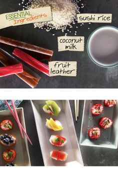 """SUSHI RICE + FRUIT LEATHER ...  Boil sushi rice until soft, then let it cool. Coconut milk forms a sweet glaze that enables a bevy of sweet ingredients –– dried and fresh fruits, herbs and seeds –– to cling to the rice inside the chewy fruit-leather """"seaweed."""""""