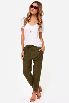 In love with these pants!- Obey Outsider Olive Green Harem Pants