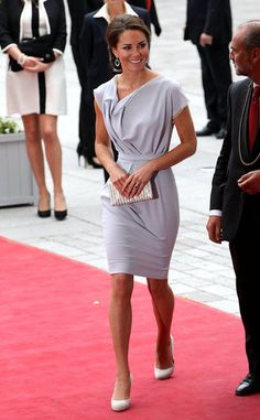 Kate Middleton attended the UK's Creative Industries Reception at the Royal Academy of Arts in London this evening to celebrate over 800 Britons who participate in the arts. She dressed for the event in a gray Roksanda Ilincic dress.