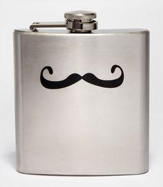 Stainless Steel Mustache Flask | Shop Novelty Barware | fredflare.com