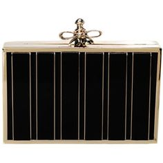 Gold-frame Metal-bowknot Leather Box Clutch
