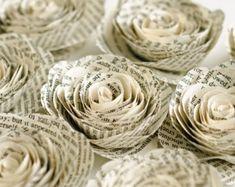 Set di 6 Stemless libro pagina Rose per centrotavola Decor - Decorazioni da tavola matrimonio letterario - Harry Potter, Jane Austen e altro ancora