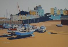 Alan TYERS - Tenby Harbour Love you painting, clever composition. Seaside Art, British Seaside, Seaside Towns, Great British, Your Paintings, Fishing Boats, Printmaking, Sailing, Art Gallery