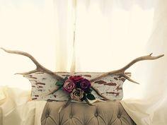 Authentic Deer Antler- Mounted Deer Antlers- Deer Antler Decor- Antlers with Flowers