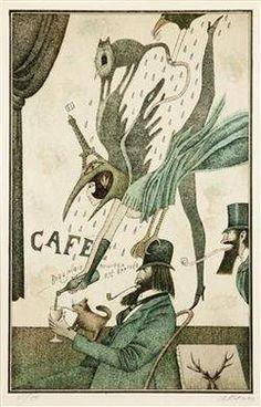Beaujoalis Nouveau est Arriveé by Adolf Born. Colour lithograph, 39 x 25 cm http://m.mutualart.com/Artist/Adolf-Born/2504498446119F03/Artworks