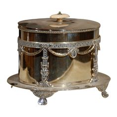 Italy 19th Century 19th Century Silver Italian Biscuit Barrel. This Piece is an Antique and One of a Kind.