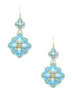 Turquoise Floral Chandelier Earrings by Miguel Ases on Gilt.com