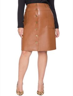 Studio Faux Leather Button Down Skirt from eloquii.com