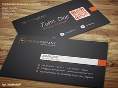 Print ready premium corporate business card template with black, white and orange combination, and integrated QR code.