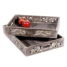Carved Timber Grey Trays with Tapered Sides Decorative Home Decor from Earth Homewares