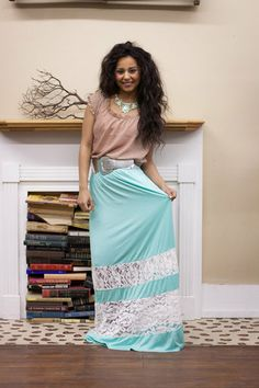 Mint Lace Maxi Skirt is great for casual wear, or dress it up for a wedding, baby shower, or any fun event!  #dress #lace #mint #BadHabitBoutique www.shopbhb.com