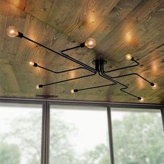 Plywood Furniture, Office Furniture, Edison Lampe, Edison Bulbs, Edison Bulb Chandelier, Industrial Ceiling Lights, Ceiling Lighting, Edison Lighting, Conduit Lighting