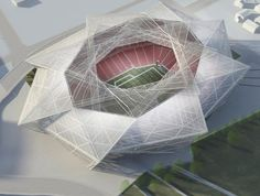 Atlanta Falcons stadium concept The Atlanta Falcons and its architecture firm have presented design plans to the Georgia World Congress Center Authority for the team's new stadium. The plans, which have been approved, include a retractable roof that opens to reveal the city's skyline; the structure surrounding the facility is translucent; and a 360-degree LED screen that goes around the stadium top walls.