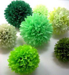 GREENS / 10 tissue paper pom poms / wedding decorations by PomLove
