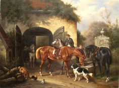 Before Hunting Horse Dog Oil Painting
