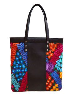 Embroidered Marques shoulder bag with leather detail and abstract design