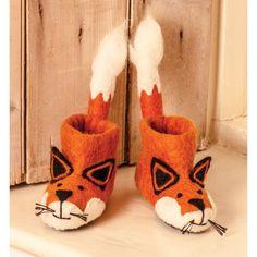 British sew heart felt wool felt shoes-Finley little fox - moek - Kids' Shoes Fox Slippers, Felted Slippers, Fox Shoes, Felt Gifts, Felt Mouse, Sewing Dolls, Christmas Gifts For Kids, Xmas, Felt Diy