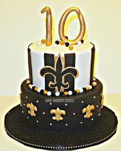 new orleans saints cakes | Girlie New Orleans Saints Birthday Cake - by AnnMariesCakes ...