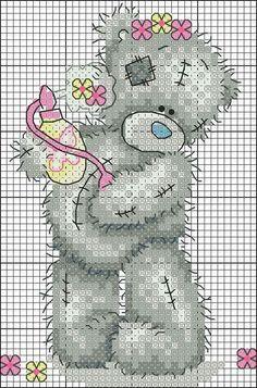 Teddi Bear with spirits Cross Stitch For Kids, Cute Cross Stitch, Cross Stitch Animals, Cross Stitch Charts, Tatty Teddy, Wedding Cross Stitch Patterns, Cross Stitch Designs, Cross Stitching, Cross Stitch Embroidery