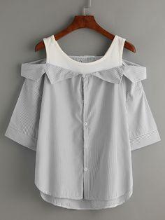 Grey Striped Fold Over Cold Shoulder Blouse -SheIn(Sheinside)