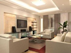 Take a look in 15 enchanting & modern gypsum board TV wall unit. Gypsum Ceiling Design, House Ceiling Design, Ceiling Design Living Room, Tv Wall Design, Home Ceiling, House Design, Interior Concept, Modern Interior, Home Interior Design
