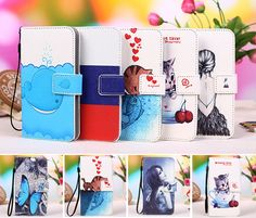 "12 Colors Cartoon Printing Flip PU Leather Phone Wallet Case For Lenovo Vibe C2 Power 5"" Mobile Phone case cover + Tracking"