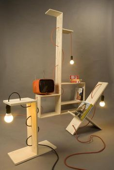 Bare Bones: Shelf Lamps Made from Bulbs, Cords & Boards